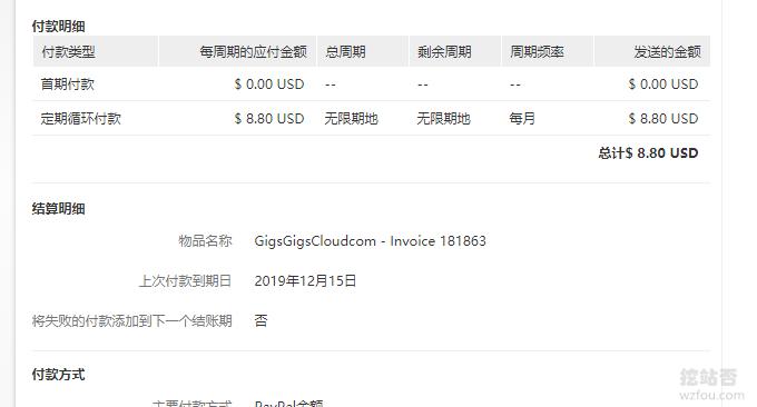 GigsGigsCloud香港取消循环付款