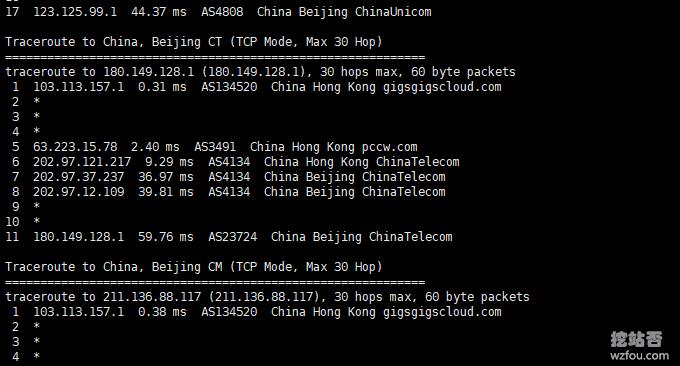 GigsGigsCloud香港电信回程