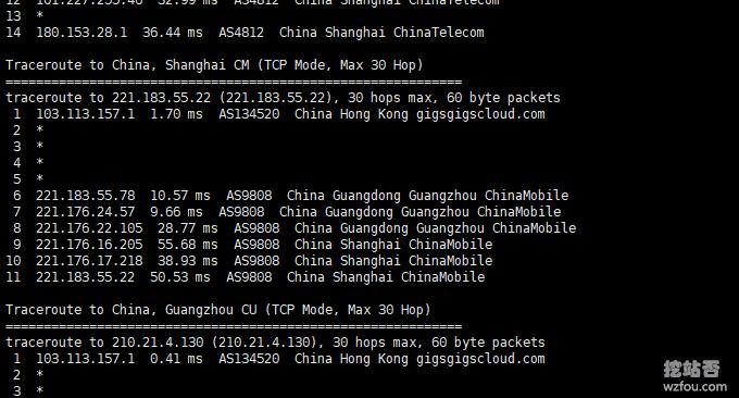 GigsGigsCloud香港移动回程