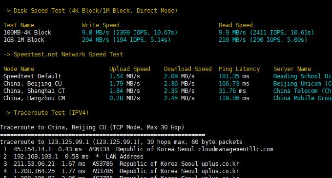 LOCVPS韩国VPS主机速度测试结果