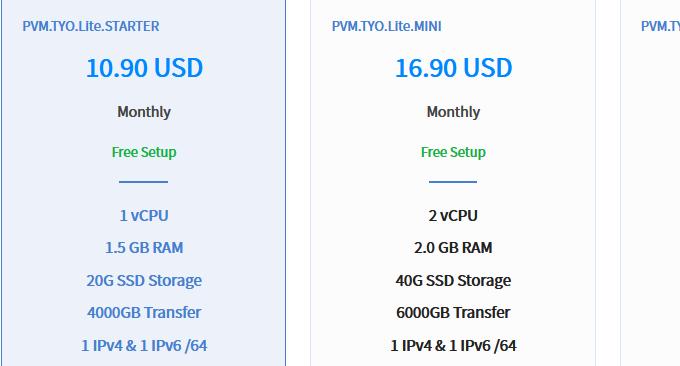 DMIT.io VPS月付价格
