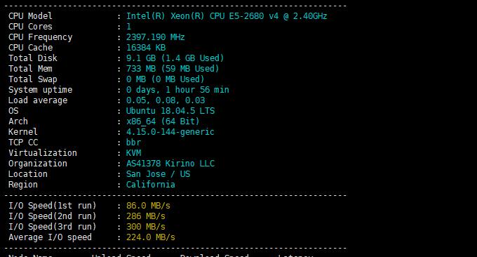 AkkoCloud美国CN2 GIA VPS性能