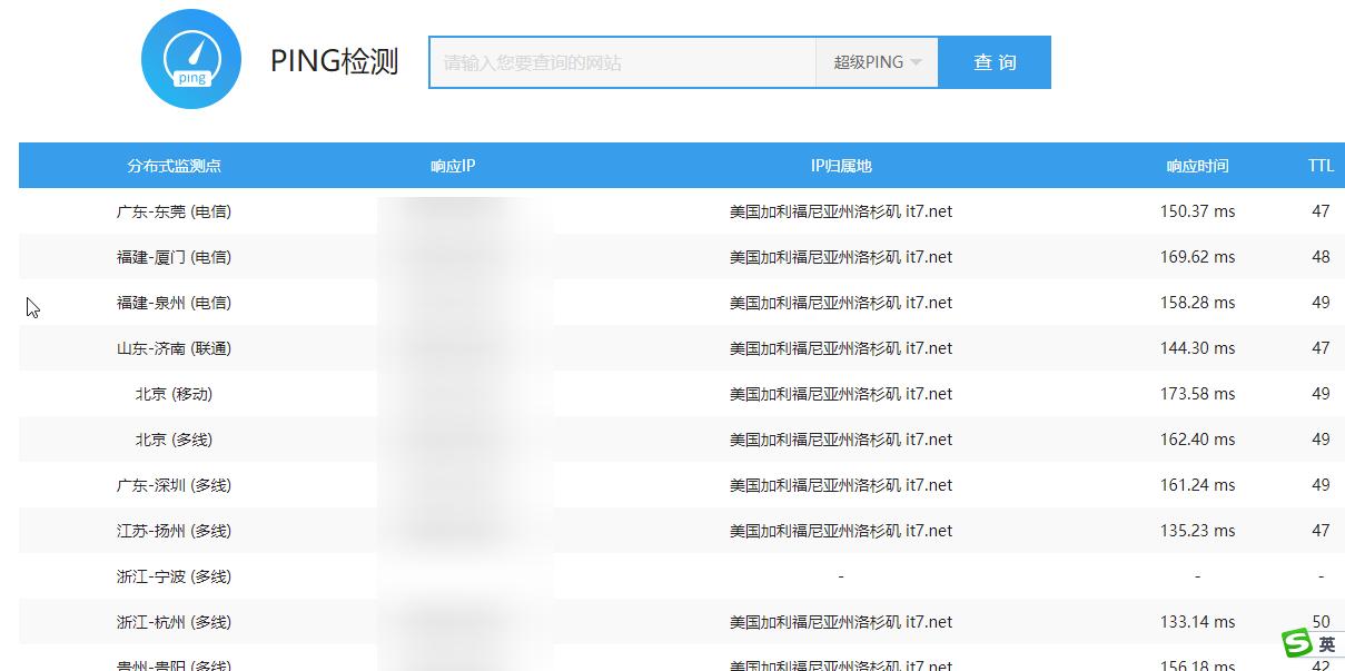爱站网Ping