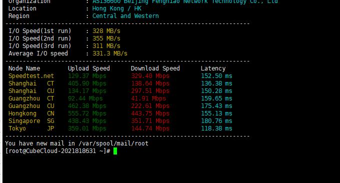Cubecloud联通CU4837 VPS主机下载速度