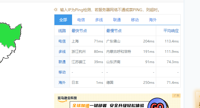Linode日本VPS响应Ping值