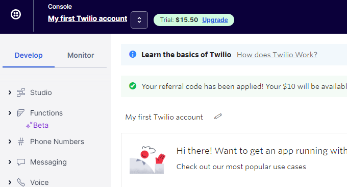 Twilio免费电话完成注册