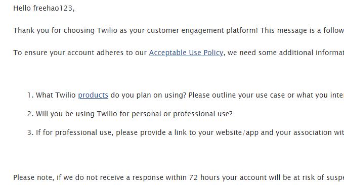 Twilio免费电话账号审核